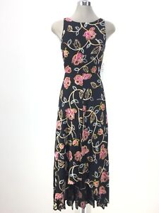 Nicole-Miller-NEW-YORK-NWT-BLACK-High-Low-Floral-Maxi-Dress-w-Back-Cutout