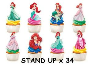 Princess Mermaid Ariel Stand Up Cupcake Fairy Cake Toppers