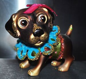 CUTE-PUPPY-Brown-Dog-GIRL-GLASS-Blown-Christmas-Holiday-Ornament-Dress-Ribbon