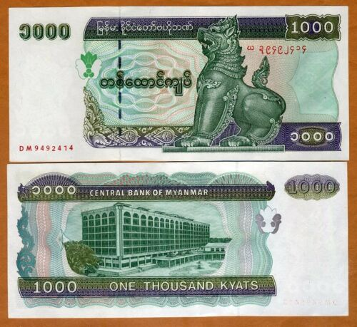 Myanmar 77b aUNC /> Large Size Issue 1000 Kyats ND 1998 P-77