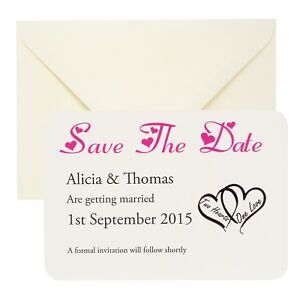 Personalised-Wedding-save-the-date-cards-any-colour-with-Envelopes-FREE-P-P