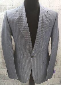 Corneliani-Designer-Gray-Pinstripe-Sport-Coat-Linen-Silk-1-Button-Fitted-Sz-50L