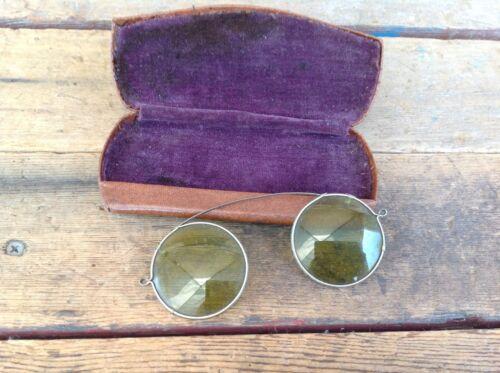 Vintage Green Lens Eyeglass Clip-Ons in Hard Case
