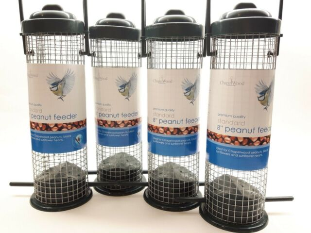 "Four Chapelwood 8"" Standard Peanut Feeder - Wild Garden Bird Slide Up Top Feeder"