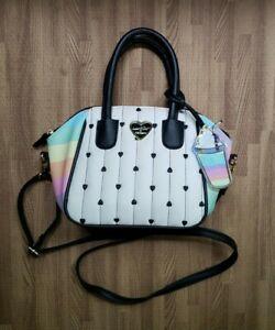 LUV-BETSEY-BY-BETSEY-JOHNSON-Quiny-Quilted-Heart-Satchel-rainbow-colors-white