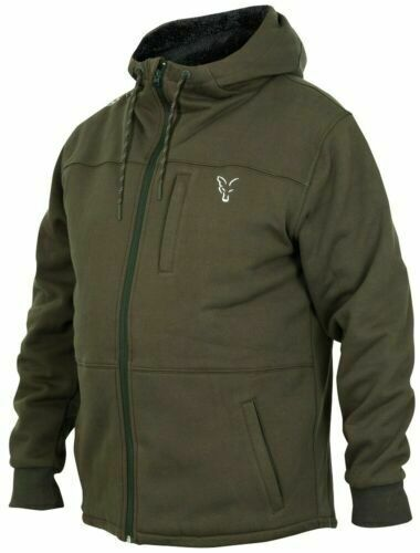 Fox Collection Green Silver Sherpa Hoody *All Sizes* Fishing Hoodie Jumper NEW
