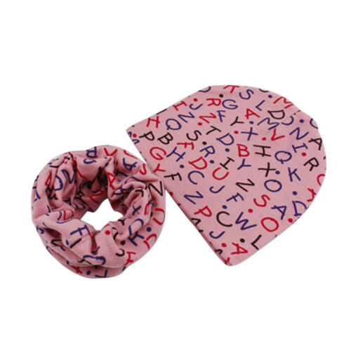 2PCS Fall Winter Warm Girl Boy Kids Soft Cotton Beanie Hat Cap+Snood Scarf 2018