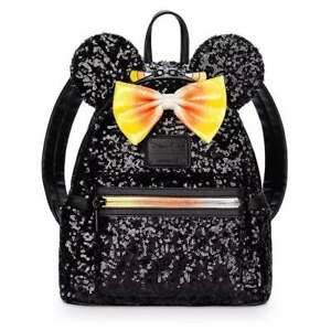 DISNEY-Loungefly-HALLOWEEN-MINNIE-MOUSE-CANDY-CORN-SEQUIN-Mini-Backpack-Bag