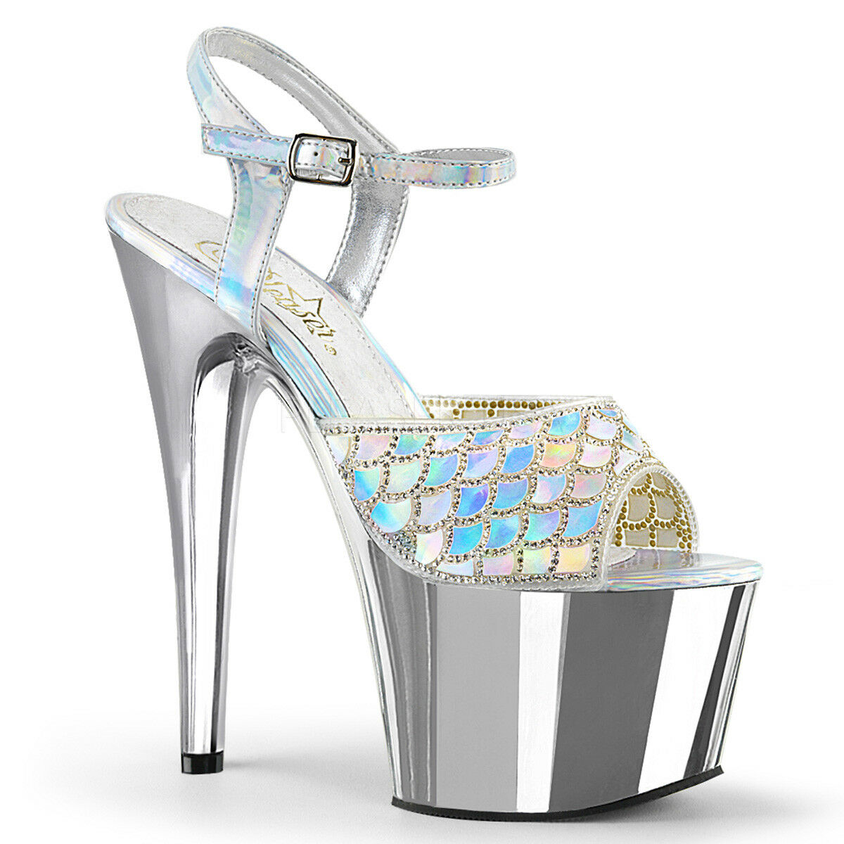 Pleaser ADORE-709MMRS Platform Ankle Strap Scale Sandal Holographic Mermaid Scale Strap 8b9514