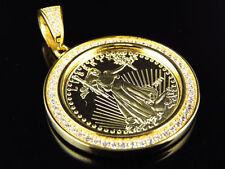 "Yellow Gold Finish Lab Diamond US Lady Liberty Coin Pendant 1.5"" 2.8 Grams"