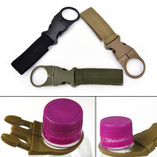 Details about  /EDC Molle Tactical Nylon Webbing Buckle Hook Water Bottle Holder Clip Carabin SE
