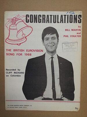 song sheet CONGRATULATIONS Cliff Richard 1968 Eurovision Song Contest