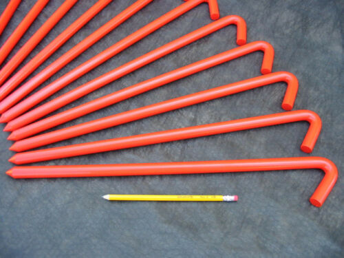 50 pack of 18 long Orange metal Hook Stakes for bouncers. USA!  62518BOR24