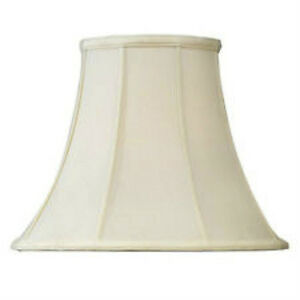 Off White Shantung Silk Lampshade 14 Bell Cream Fabric Lamp Shade Fitter Cream Ebay