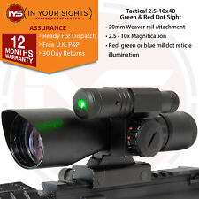 Rifle or Airsoft 2.5-10x40 rifle scope / Green & red dot sight with green laser
