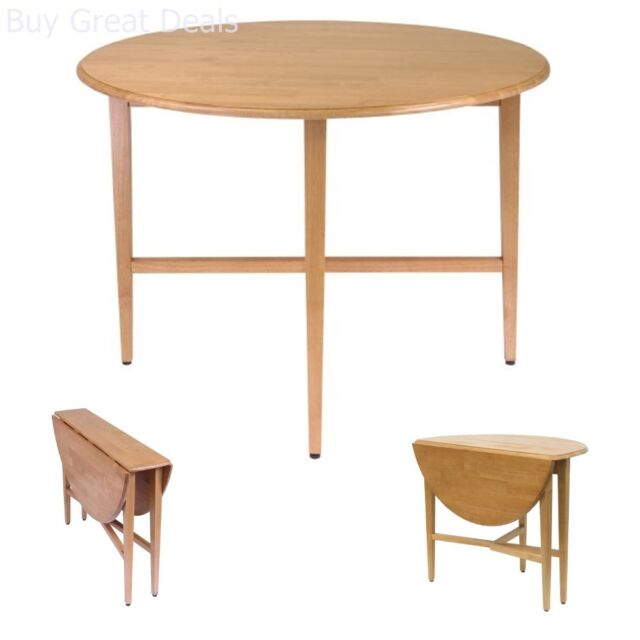 Round Drop Leaf Table Furniture 42 Inch Space Save Dining Kitchen Folding Accent