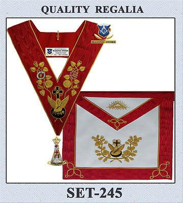 Masonic 18 Degree Rose Croix Set - Apron, Collar & Jewel *** A.A.S.R.