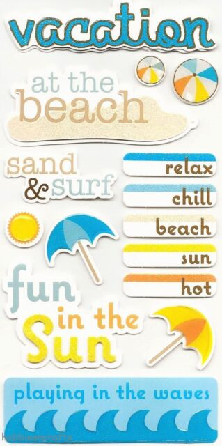 RECOLLECTIONS 3-D STICKERS - VACATION HOLIDAY SAND & SURF UMBRELLA AT THE BEACH