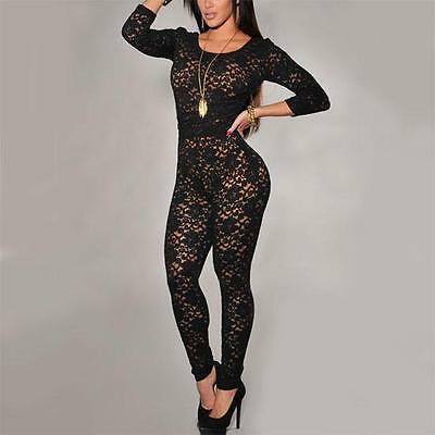 J22 - 2XL Plus Size 3/4 Sleeves Lace Catsuit Jumpsuit Bodysuit Nude Black XXL