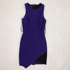 Bebe Women's XS Purple Black Sleeveless Sheath Asymmetric Cocktail Dress