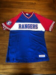 timeless design 1cd7e 2e249 Details about Vintage Texas Rangers Cotton MLB Jersey T Shirt Size M  Mitchell & Ness