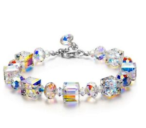 Aurora-Borealis-Bracelet-with-Swarovski-Crystals-18K-White-Gold-Adjustable-7-034-9-034