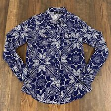 Womens Wrangler Retro Western Paisley Pearl Snap Down Shirt Rodeo Sz Small