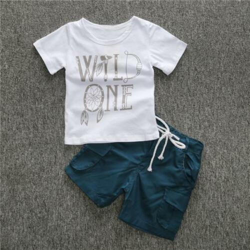 UK 2PCS//Set Kids Toddler Baby Boys T-shirt Tops+Shorts Casual Outfits Clothes KW
