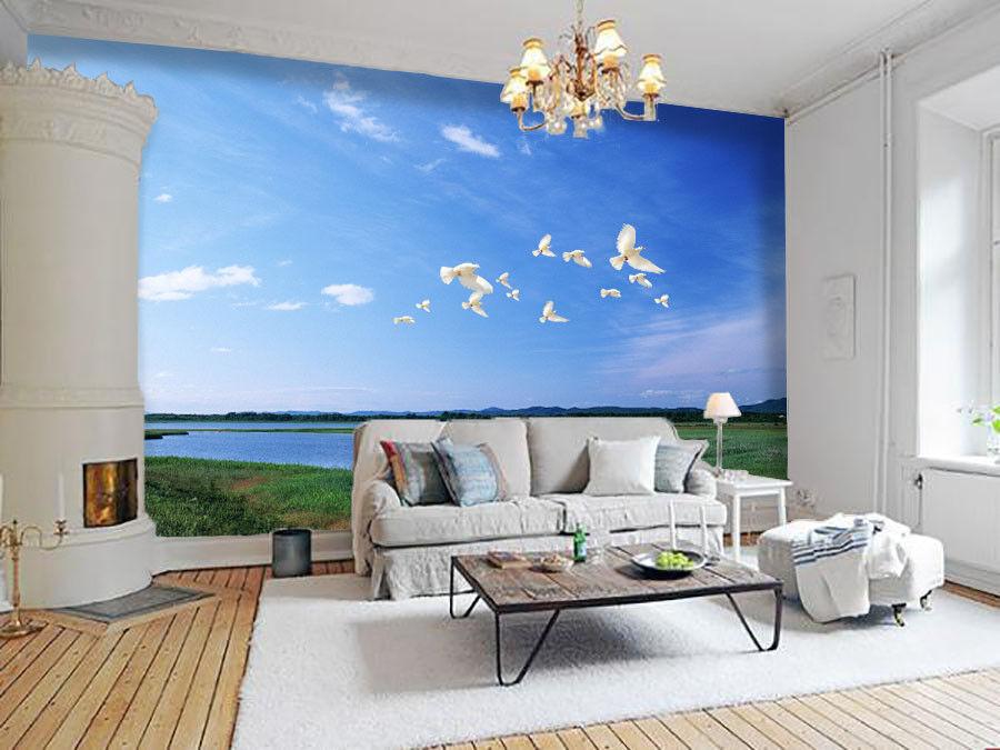 3D 3D 3D Pigeons Sky Sea 82 Wall Paper Murals Wall Print Wall Wallpaper Mural AU Kyra 9e55f7