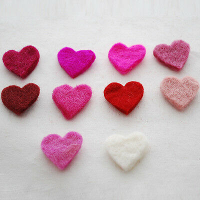 100% Wool Felt Die Cut Heart - 100 Count - Approx 28mm x 28mm - Pink, Red, Ivory