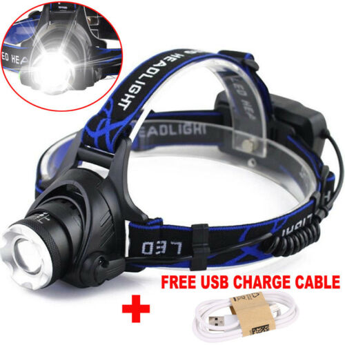 2 Sets 80000LM T6 LED Zoomable Headlight Headlamp  Lamp 18650 battery+USB Cable