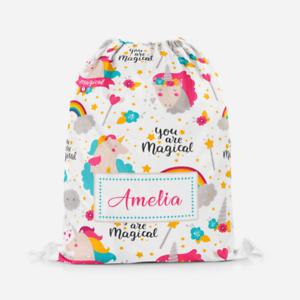 Personalised Magical Unicorn Girls Kids Drawstring Bag PE Swimming School Bag
