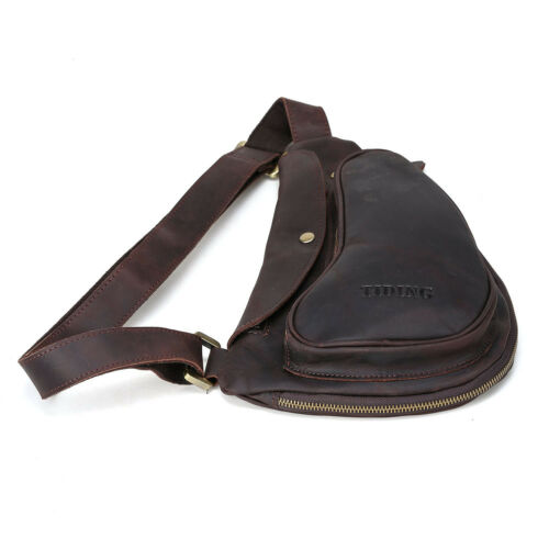 Men/'s Vintage Leather Small Shoulder Sling Backpack Chest Cross Bag Sports Pouch
