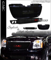 For 07-13 Gmc Yukon Round Hole Gloss Blk Front Upper & Lower Bumper Grill Grille