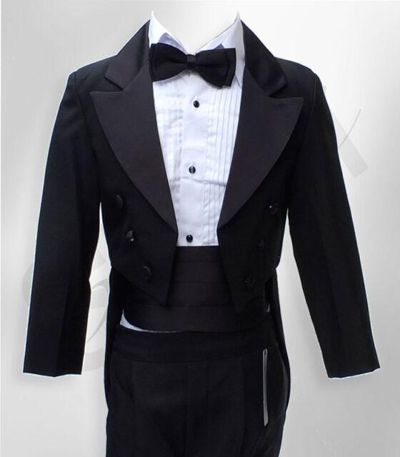 Baby & Boys Tuxedo Tail Suit in Black 5 PCS Christening Wedding Pageboy Dinner