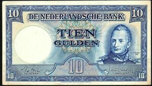 1949-Netherlands-10-Gulden-Banknote-5-AY-178002-VF-P-83