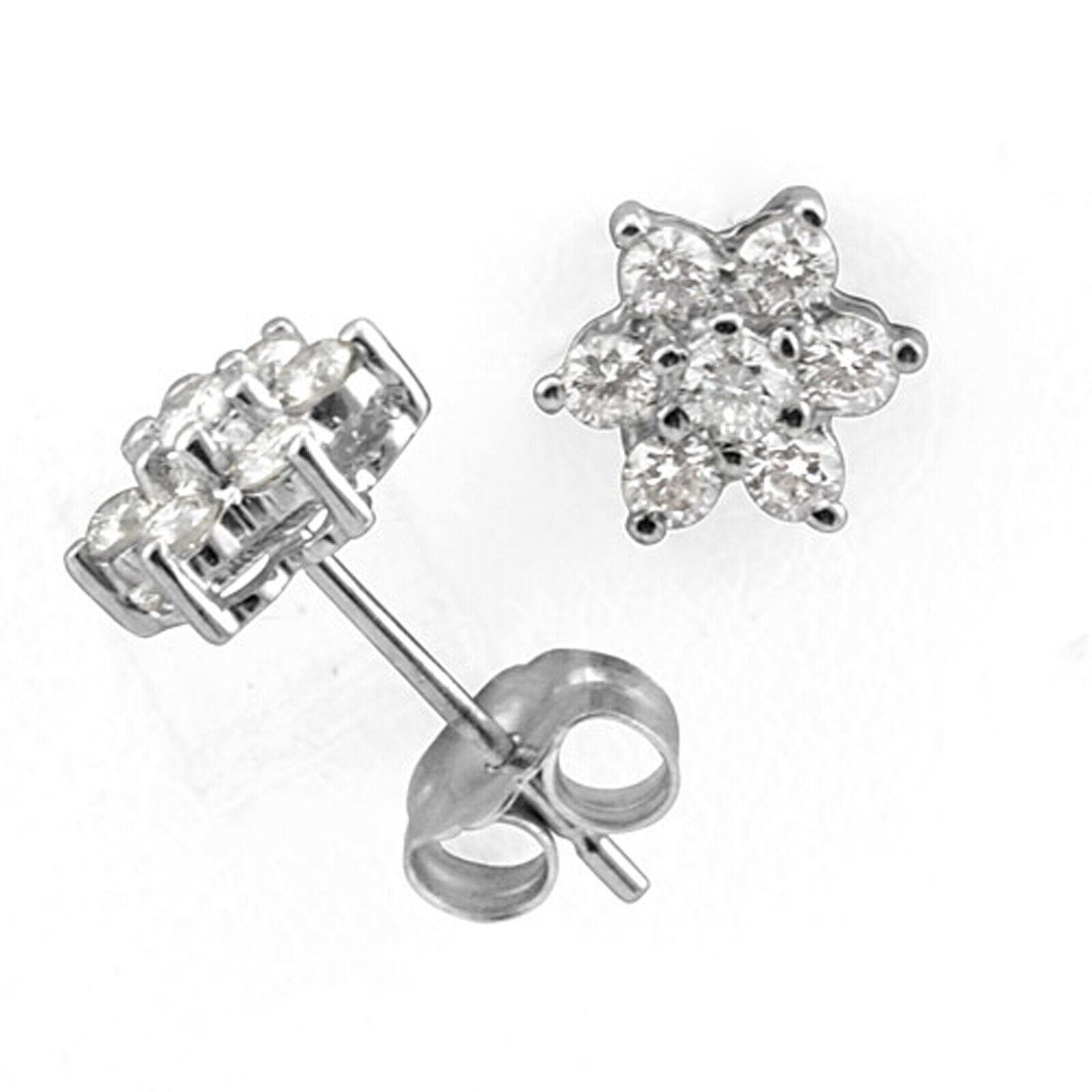 165b994b2f04a Diamond Round Ct 0.50 F-G Natural White gold 14k Earring Women's ...