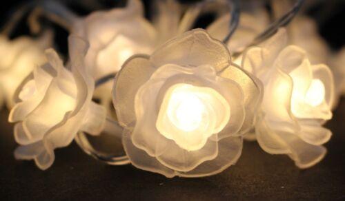 2x LED Lichterkette mit je 20 LEDs Rosen 3 cm Lichtgirlande Tischdeko Wanddeko