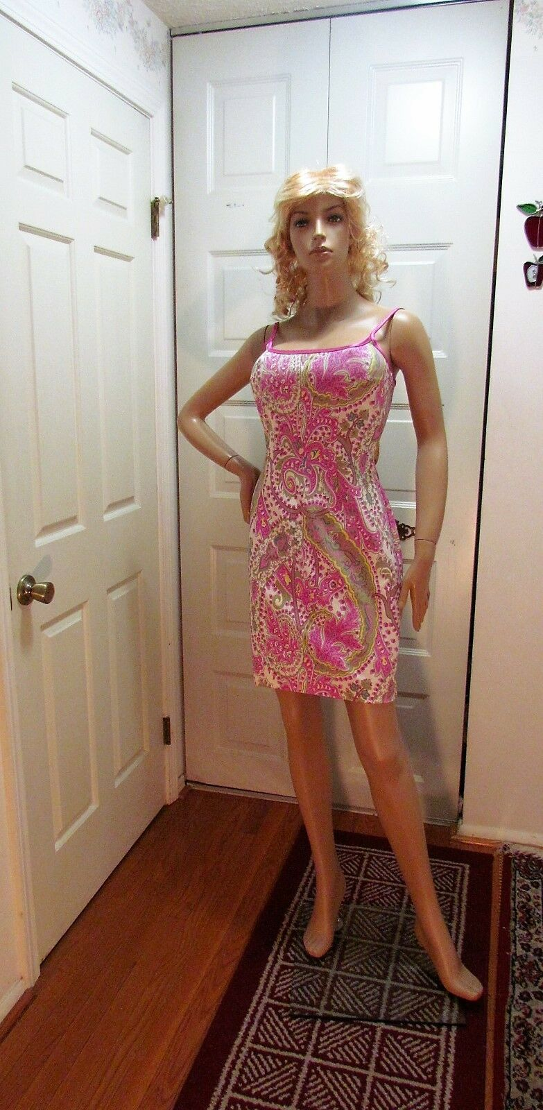 Women's Dress Maria white black Floral Pink Sleeveless Size M Made in USA