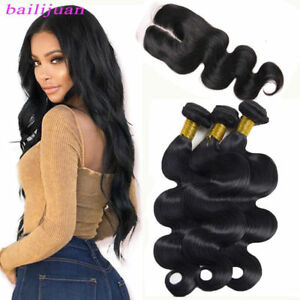 Brazilian-Body-Wave-Virgin-Hair-3-Bundles-With-4-4-Top-Closure-Human-Hair-Weave