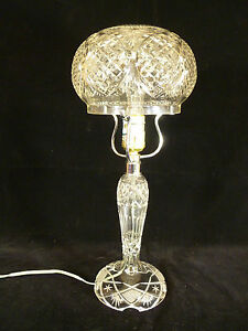 Image Is Loading Vintage Cut Crystal Table Lamp With