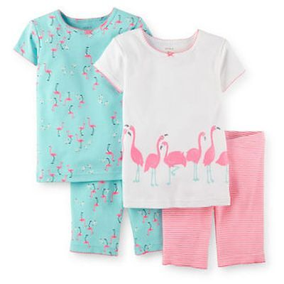 NEW Carter's 4 Piece Summer PJs Pink Flamingo Bird Glitter NWT 3T 4T 5T 7 Pajama