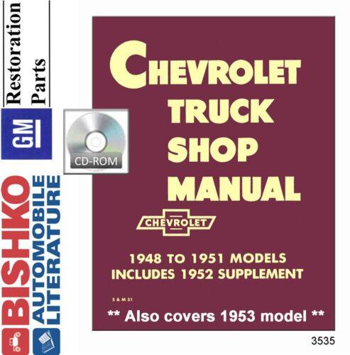 1951 1952 1953 Chevrolet Pickup Truck Shop Service Repair Manual CD OEM Guide