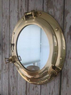 "Nautical Maritime Brass Ship Porthole Round with Mirror Home /& Wall Decor 15/"""