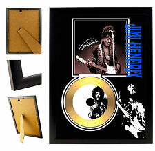 JIMMI HENDRIX A  - A4 SIGNED FRAMED GOLD VINYL COLLECTORS CD DISPLAY PICTURE