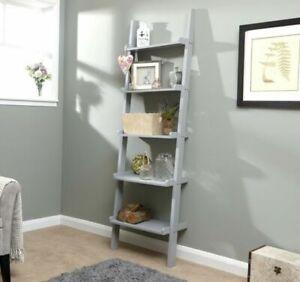 Home Source 5 Shelf Ladder Bookcase - Grey