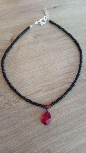 Black Bead Anklet//ankle bracelet with red droplet