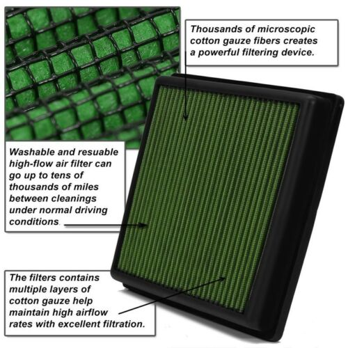 Green Cotton OE Style Dry Drop-In Panel Air Filter For 12-UP BMW M3//M4//M5//M6