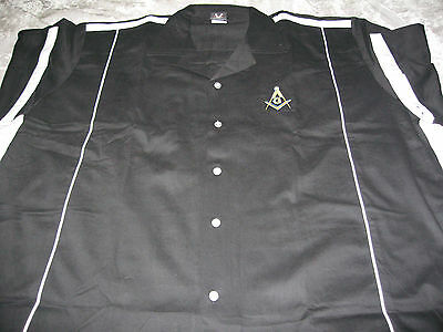 Square Compass Masonic Bowling Shirt Embroidered Freemason Fraternity NEW!