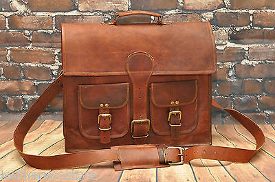 16'' Vintage Looking Leather Messenger Briefcase  Bag Men's Handmade
